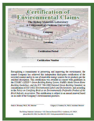Certification of Environmental Claims